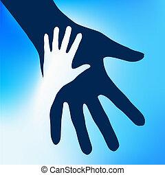 kind, hände, portion