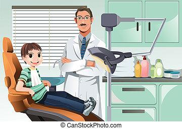 Kind im Zahnarztbüro