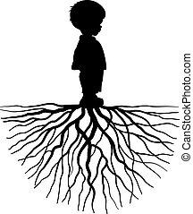 Kind mit Wurzel.
