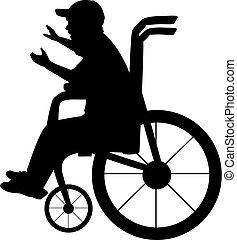 kind, silhouette, rollstuhl, junge sitting