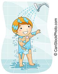 Kind unter der Dusche