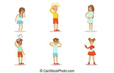 kinder, abbildung, mädels, symptome, hoch, verschieden, schwindel, vektor, leidensdruck, haben, schmerz, übelkeit, knaben, husten, temperatur, abdominal, satz