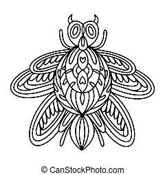 kinder, alpin, anti-stress, färbung, käfer, abbildung, book., vektor, erwachsene, beetle-insect, linear, buch, barbel