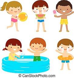 Kinder am Strand oder am Pool.