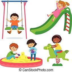 Kinder auf dem Spielplatz.