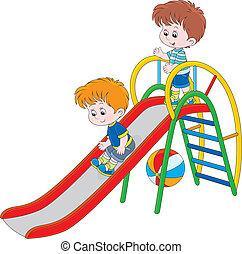 Kinder auf einer Folie.