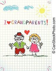 Kinder Bleistift-Hand gezeichnet Grußkarte mit Opa und Oma zusammen