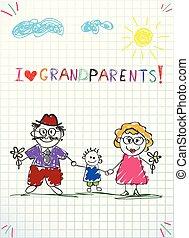 Kinder bunte Hand gezeichnet Vektor Grußkarte mit Opa, Oma und Enkel zusammen.