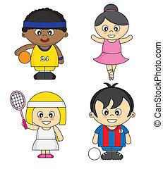 Kinder, die als Sportler verkleidet sind