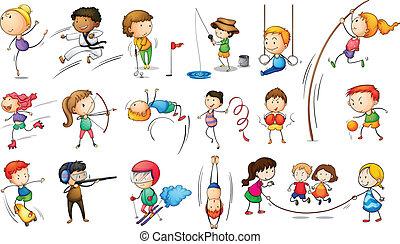 Kinder, die andere Sport treiben.