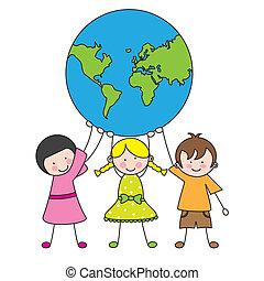 Kinder, die den Globus halten.