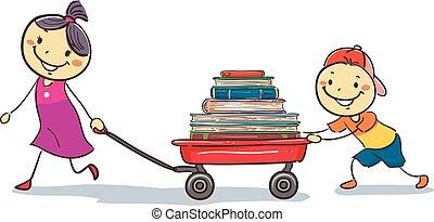 Kinder, die eine Wagenladung Bücher ziehen.