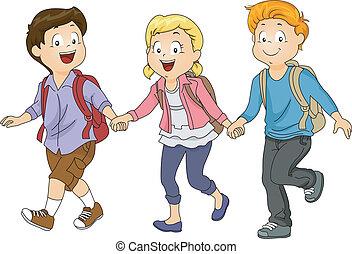 Kinder, die Händchen halten.