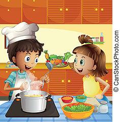Kinder, die in der Küche kochen