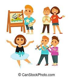 Kinder, die Kunstmalerei und Gesang oder Ballett machen.