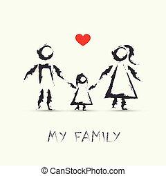 Kinder, die meine glückliche Familie zeichnen.