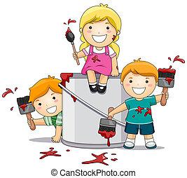 Kinder, die mit Farbe spielen