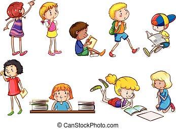 Kinder, die Schulaktivitäten machen.