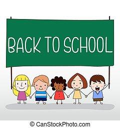 Kinder, die sich an die Schulbehörde halten.