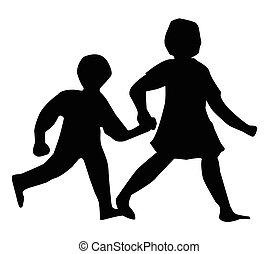 Kinder, die Silhouette laufen.