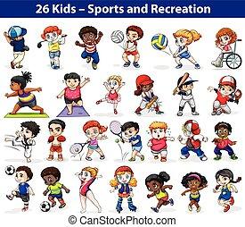 Kinder, die verschiedene Aktivitäten ausüben.