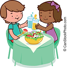 Kinder essen gesundes Essen.