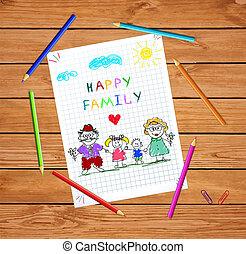 Kinder farbenfrohe Hand gezeichnet Vektorgrafik von Mann, Frau und Kindern, die Händchen halten