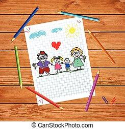 Kinder farbige Hand gezeichnet Vektor Illustration von Großeltern und Enkeln