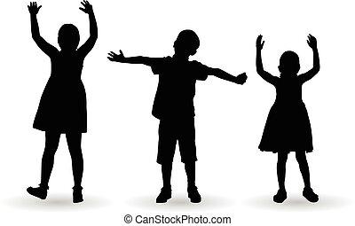 Kinder feiern mit offenen Armen.