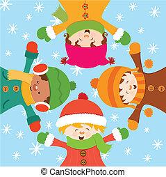 Kinder feiern Schnee