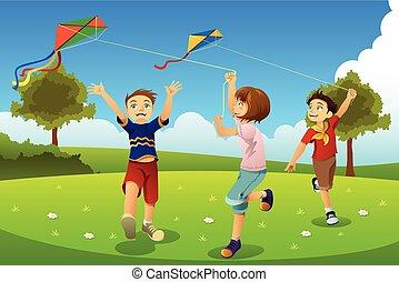 Kinder fliegen Drachen in einem Park.