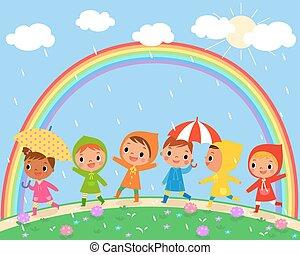 Kinder gehen an einem schönen Regentag.