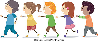Kinder gehen in einer Reihe