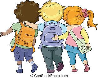 Kinder gehen zusammen.