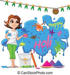 Kinder genießen Holi.