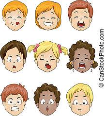 Kinder Gesichtsausdruck.