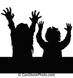 Kinder glückliche Illustration Silhouette.