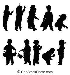 Kinder glückliche Silhouette Illustration.