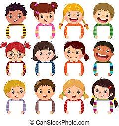 kinder, gruppenfotos, leer, glücklich, multi, kinder, signs., karikatur, ethnisch, wenig, besitz, portraits., sammlung