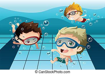 Kinder haben Spaß im Schwimmbad.