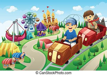 Kinder haben Spaß in einem Vergnügungspark.