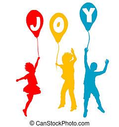 Kinder halten Luftballons mit Freudenbotschaft