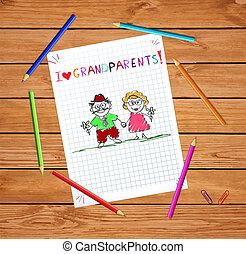 Kinder Hand gezeichnet Grußkarte mit Opa und Oma zusammen.