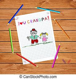 Kinder illustrieren mit Opa und Enkel zusammen.