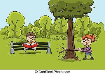 Kinder im Park.