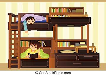 Kinder im Schlafzimmer.
