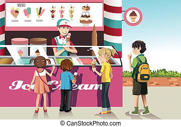 Kinder kaufen Eis