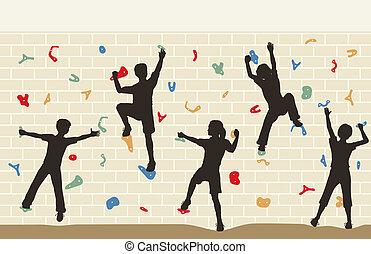 Kinder klettern an die Wand