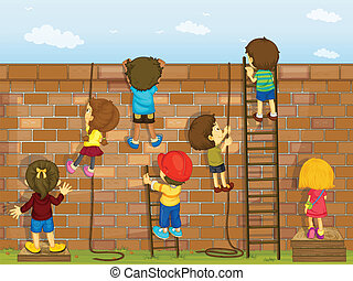 Kinder klettern an einer Wand