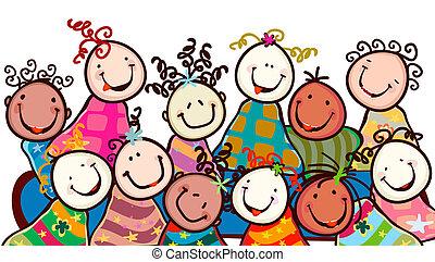Kinder lächeln.
